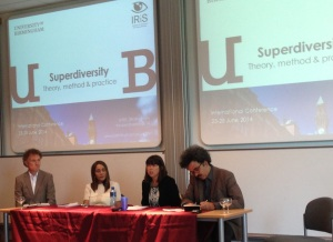 From the left: Adrian Blackledge, Kiran Trehan, Jenny Phillimore and Nando Sigona